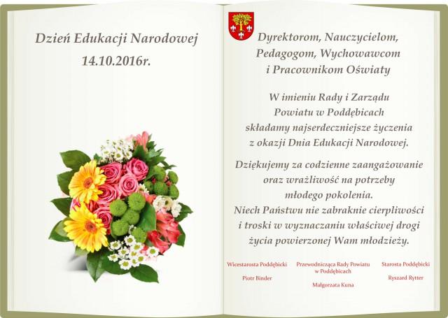 Życzenia zokazji Dnia Edukacji Narodowej
