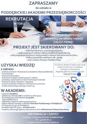 Zapraszamy do udziału wPoddębickiej Akademii Przedsiębiorczości